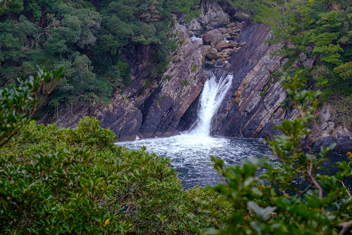 Tokori Waterfall in Yakushima, the only waterfall in Japan meeting the ocean