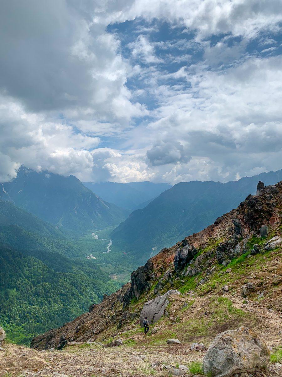 The road leading to Kamikochi from the peak of Yake Dake